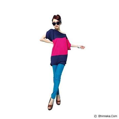CECECICIKU HOUSE Baju Import Spandek Garis [CB-125] - Pink Tua - Kaos Wanita