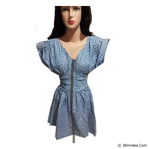 CECECICIKU HOUSE Dress Import Motif Hati [CD-346] - Biru - Mini Dress Wanita