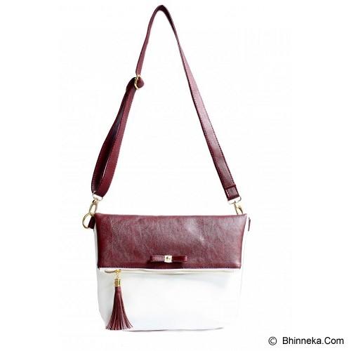 CEVIRO Avantin Sling Bag - Maroon White - Cross-Body Bag Wanita