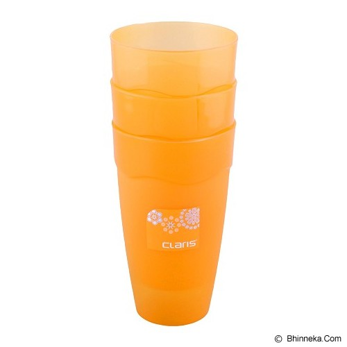 CLARIS Gelas Wave 500ml Set Of 3 - Orange - Gelas