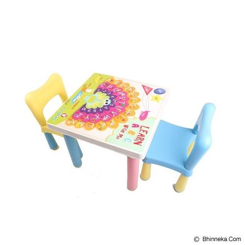 CLARIS Set 2 Bangku Anak Kidzone & Meja Fantastic - Biru & Kuning - Meja Belajar