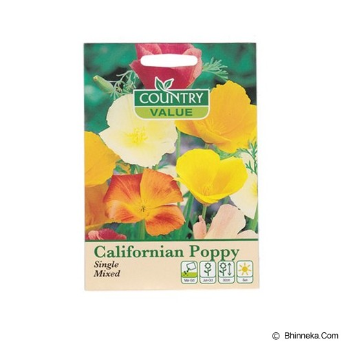 COUNTRY VALUE Californian Poppy Single Mixed - Bibit / Benih Tanaman Hias