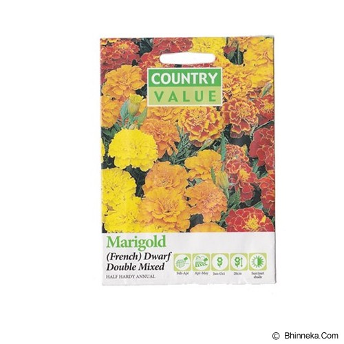 COUNTRY VALUE Marigold (French) Dwarf Double Mixed - Bibit / Benih Tanaman Hias
