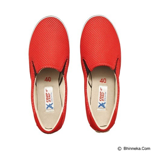 COUP D'ETAT Slip on Classic Red Mesh with White Sole Size 41 [SOM02] - Sneakers Wanita