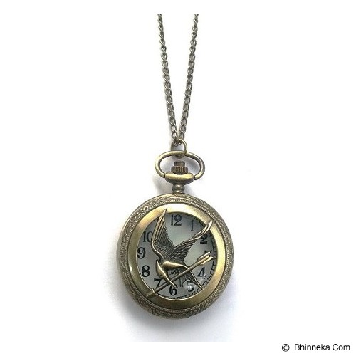 CUPCUPDIDA Mockingjay The Hunger Games Pocket Watch Necklace - Bronze - Kalung / Necklace