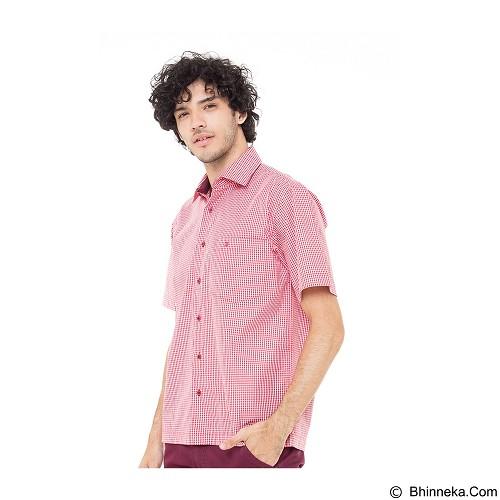 DAMON Kemeja Tangan Pendek Kotak Kecil Size 16½ [G31730] - Red Combination (Merchant) - Kemeja Lengan Pendek Pria