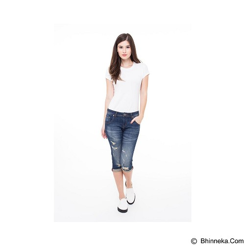 DOCDENIM Docdenim Ladies Katlyn Ripped Ru 3/4 Slim Fit Size L - Blue (Merchant) - Celana Jeans Wanita