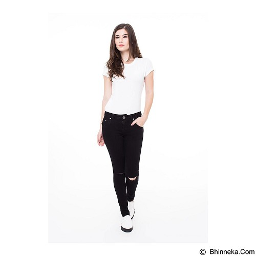 DOCDENIM Ladies Jeans Calique Ripped Skinny Fit Size M - Black (Merchant) - Celana Jeans Wanita