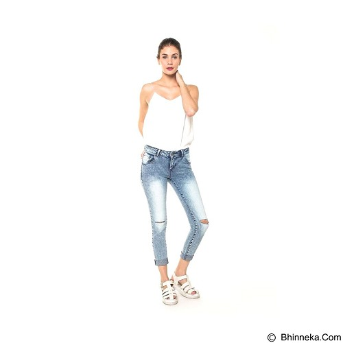 DOCDENIM Ladies Jeans Carrol RU Cut Ripped Size S - Blue (Merchant) - Celana Jeans Wanita