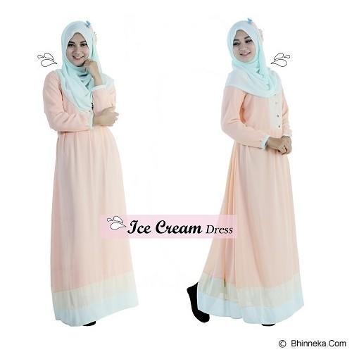 EMMAQUEEN Dress Ice Cream Size XL - Milky Peach - Gamis Wanita