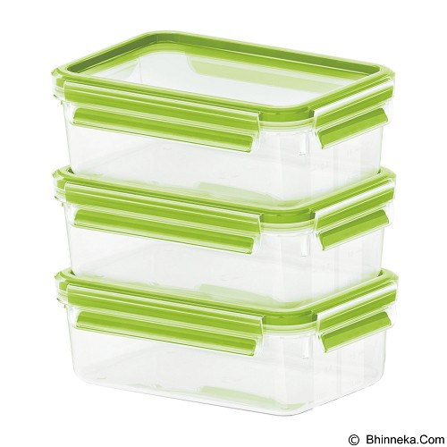 harga EMSA Clip & Close Set Container 3 Pcs [508556] - Transparent/Light Green Bhinneka.Com