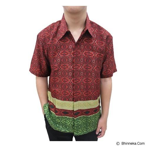 ENAM SAUDARA Batik Halus Silk Air Emas Size S [RA004] - Red Green (V) - Kemeja Lengan Pendek Pria