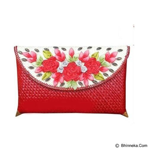 ETNIKMODE Clutch Anyaman Pandan Flower - Red (Merchant) - Clutches & Wristlets Wanita