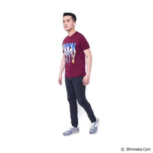 F&P T Shirt Rock City Size M [007-TS.004] - Maroon - Kaos Pria