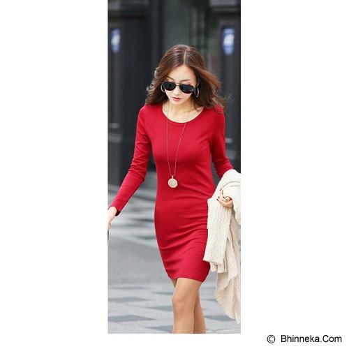 FAMOUS KOREA Bodycon Simply Dress - Red - Mini Dress Wanita