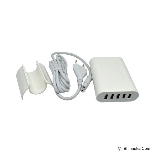 GFGADGET 5 Ports USB Charger Travel Adapter 40W 8A (EU Plug) - White (Merchant) - Charger Handphone
