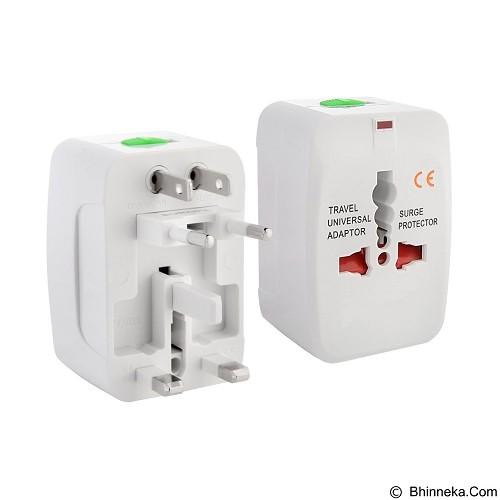 GFGADGET All in One (EU + AU + UK + US Plug) World Universal Travel Adapter - White (Merchant) - Charger Handphone