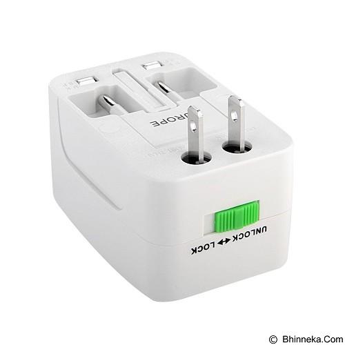 GFGADGET All in One (EU + AU + UK + US Plug) World Universal Travel Adapter - White (Merchant) - Universal Travel Adapter