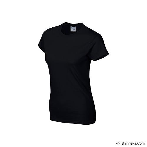 GILDAN Ladies T-Shirt 76000L Premium Cotton Size L - Black (V) - Kaos Wanita