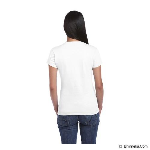 GILDAN Ladies T-Shirt 76000L Premium Cotton Size XL - White (V) - Kaos Wanita