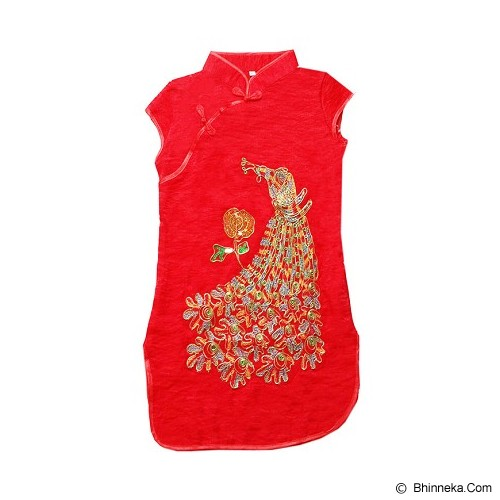 GOODSTORY CNY Chinese Dress Cheongsam Qibao Size 10 - Golden Peacock Red - Dress Bepergian/Pesta Bayi dan Anak