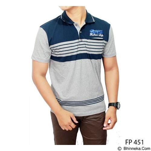 GUDANG FASHION Kaos Kerah Polo Shirt Size XL [FP 451-XL]  - Dark Blue Combination Grey - Polo Pria