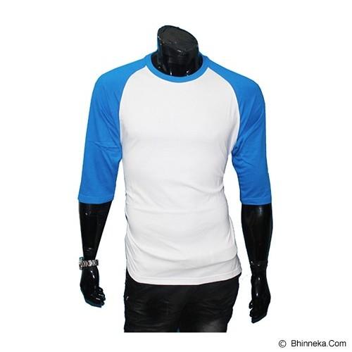 GUDANG FASHION Kaos Polos Raglan Size L [POL 24-L] - White Blue - Kaos Pria