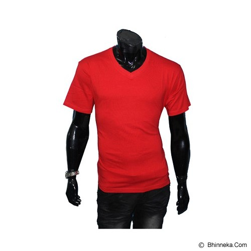 GUDANG FASHION Kaos Polos V-neck Size L [POL 33-L] - Red - Kaos Pria