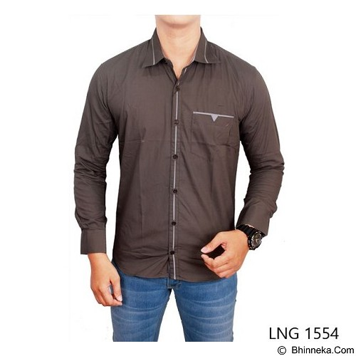 GUDANG FASHION Men Fashion Slim Fit Shirts Size XL [LNG 1554-XL] - Light Grey - Kemeja Lengan Panjang Pria