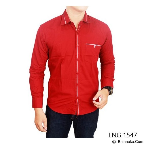 GUDANG FASHION Men Slim Fit Long Sleeve Shirts Size M [LNG 1547-M] - Red - Kemeja Lengan Panjang Pria