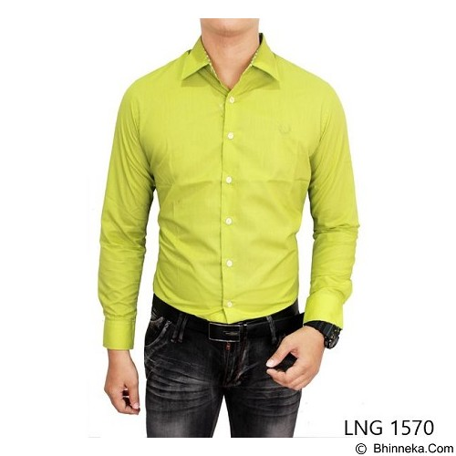 GUDANG FASHION Mens Slim Fit Formal ShirtsSize XL [LNG 1570-XL] - Green Stabillo - Kemeja Lengan Panjang Pria