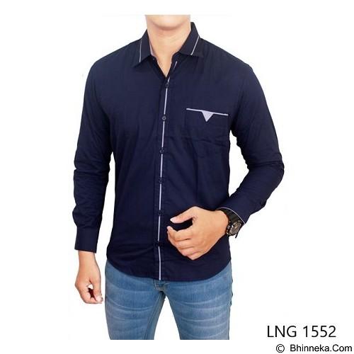 GUDANG FASHION Slim Fit Shirt For Man Size L [LNG 1552-L] - Dark Blue - Kemeja Lengan Panjang Pria