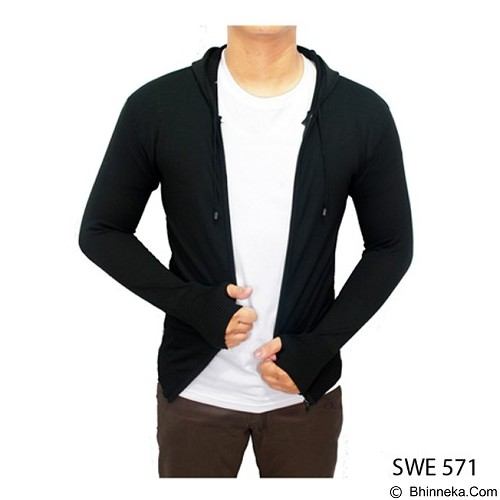 GUDANG FASHION Sweater Knit Hoodie Ariel [SWE 571-A] - Black - Sweater / Cardigan Pria