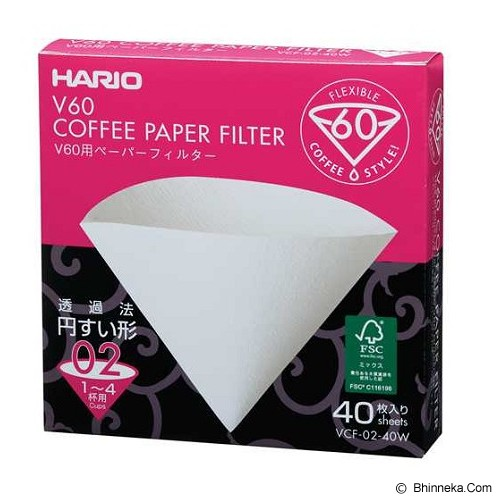 HARIO Paper Filter White for Dripper 02 40 Sheets [VCF-02-40W] - Kertas Filter Kopi