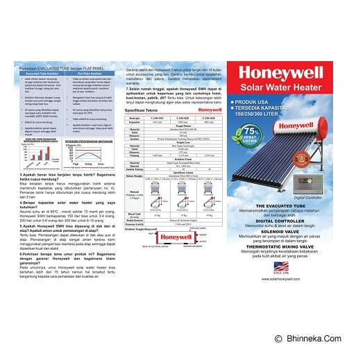 HONEYWELL Water Heater Tenaga Surya [CA58-1820] - Water Heater Tenaga Surya
