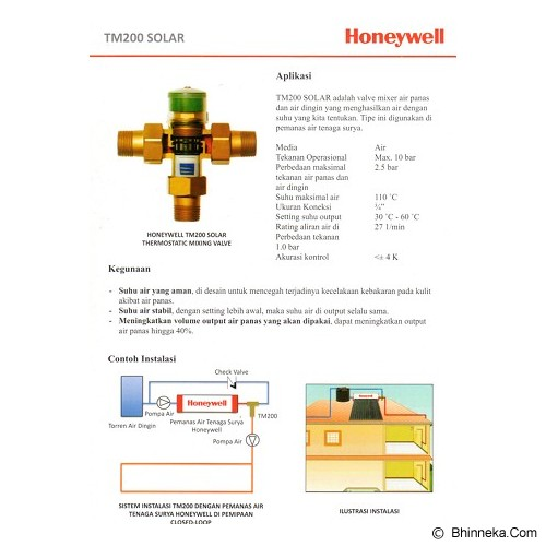HONEYWELL Thermostatic Mixing Value [TM200] - Water Heater Tenaga Surya