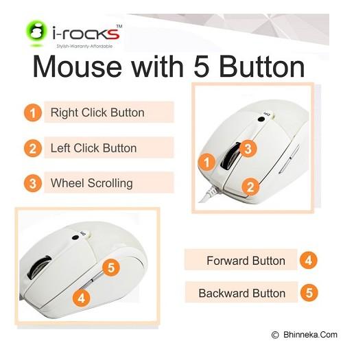 I-ROCKS Laser Mouse Diamond Cut 800/1600 DPI [IR-7610] - Putih - Mouse Desktop