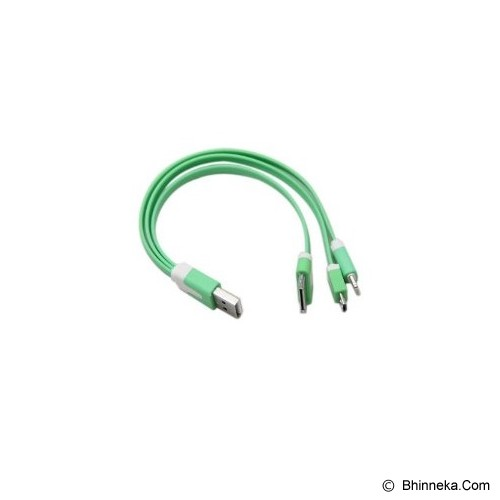 IKAWAI Cable 3in1 Flat - Green - Cable / Connector Usb