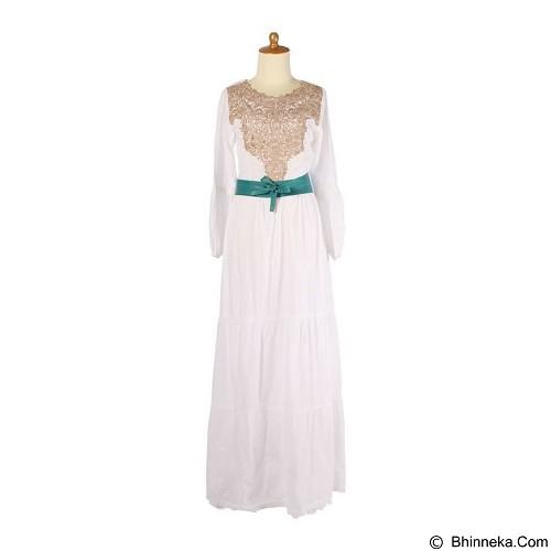 IYESH Maxi [HENK0024-0024] - White Green (Merchant) - Gamis Wanita