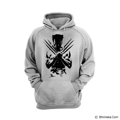 JERSICLOTHING Hoodie Wolverine Velvet/Flock Print Size S - Grey - Sweater / Cardigan Pria
