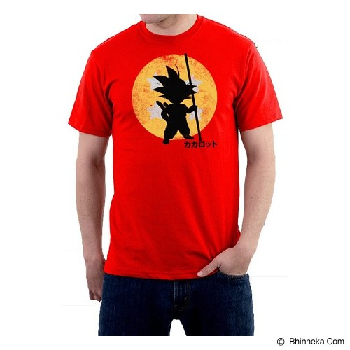JERSICLOTHING T-Shirt Goku Dragon Ball Velvet/Flock Print Size XL - Orange - Kaos Pria