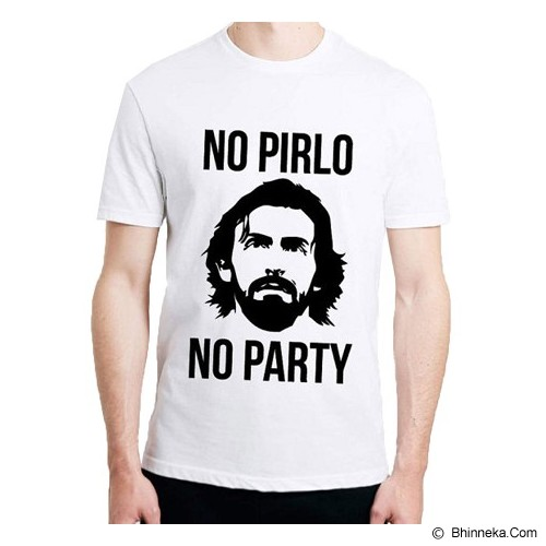 JERSICLOTHING T-Shirt No Pirlo No Party Velvet/Flock Print Size XL - White - Kaos Pria