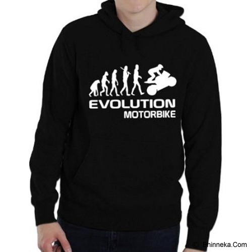 JERSICLOTHING Unisex Hoodie Motorbike Evolution Size S - Black - Jaket Casual Pria