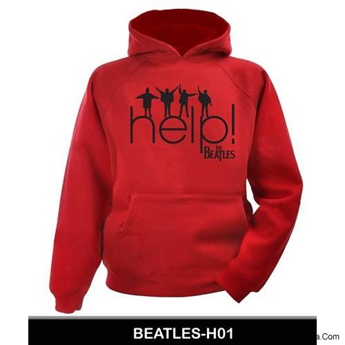 JERSICLOTHING Unisex Hoodie The Beatles Help! Size S - Red - Jaket Casual Pria