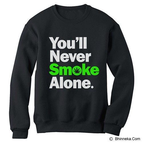 JERSICLOTHING Unisex Sweater You'll Never Smoke Alone Size S - Black - Sweater / Cardigan Pria