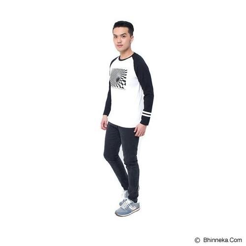 JINSHOUSE T Shirt Raglan 3D Geometry Size L [006.TS.001] - White Black - Kaos Pria