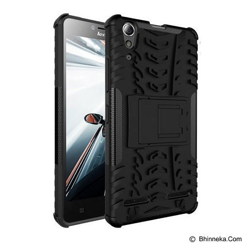 KIN Case Rugged Armor With KickStand For Lenovo A6000 / A6000 Plus - Black - Casing Handphone / Case