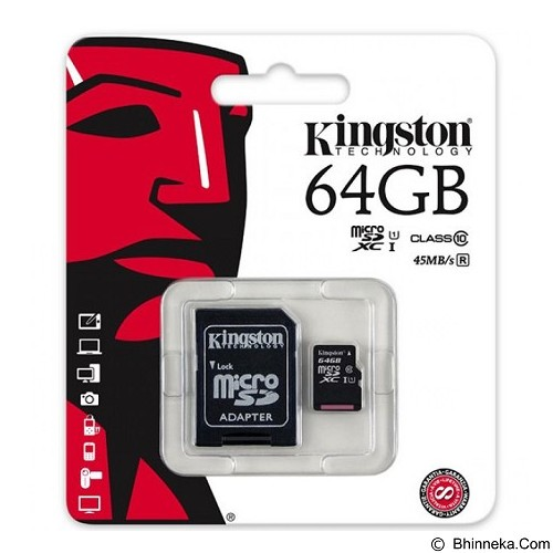 KINGSTON MicroSDXC 64GB Class 10 [SDC10G2/64GBFR] (Merchant) - Micro Secure Digital / Micro Sd Card