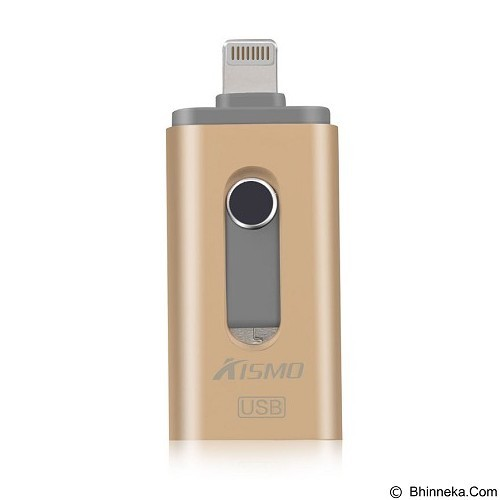 KISMO OTG iPhone 3in1 iOS Android Computer Aluminium Flashdrive 64GB - Gold (Merchant) - Usb Flash Disk Dual Drive / Otg