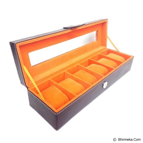 KUALITAS SUPER Kotak Jam Tangan Isi 6 Box Jam Tangan - Brown Orange - Jewelry Organizer